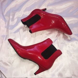 ✨ Red Patent Leather Vinyl Booties 9